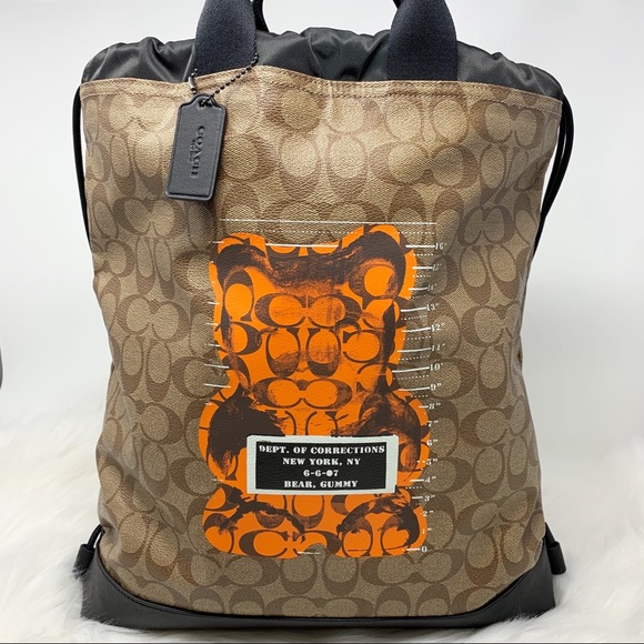 Coach Handbags - Coach drawstring bear gummy Backpack bag orange